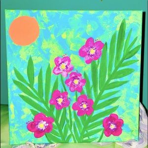Acrylic on canvas tropical flowers tiedye painting